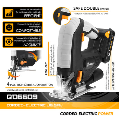 New DEKO 20V Cordless Jig Saw LED light Electric with 6 Pieces Blades - BC&ACI