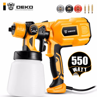 DEKO DKCX01 Spray Gun, 550W 220V High Power Home Electric Paint Sprayer, 3 Nozzle Easy - BC&ACI