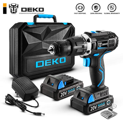 DEKO GCD20DU 20V Max Household DIY Woodworking Lithium-Ion Battery Cordless Drill Driver - BC&ACI