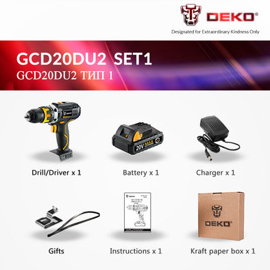 DEKO GCD20DU 20V Max Household DIY Woodworking Lithium-Ion Battery Cordless Drill Driver