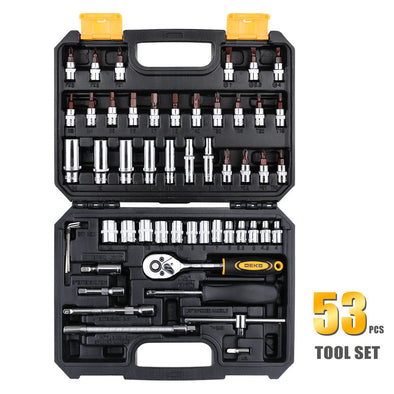 DEKO Hand Tool Set General Household Hand Tool Kit with Plastic Toolbox Storage Case