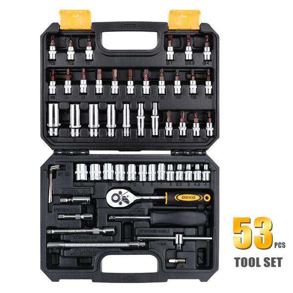 DEKO Hand Tool Set General Household Hand Tool Kit with Plastic Toolbox Storage Case - BC&ACI