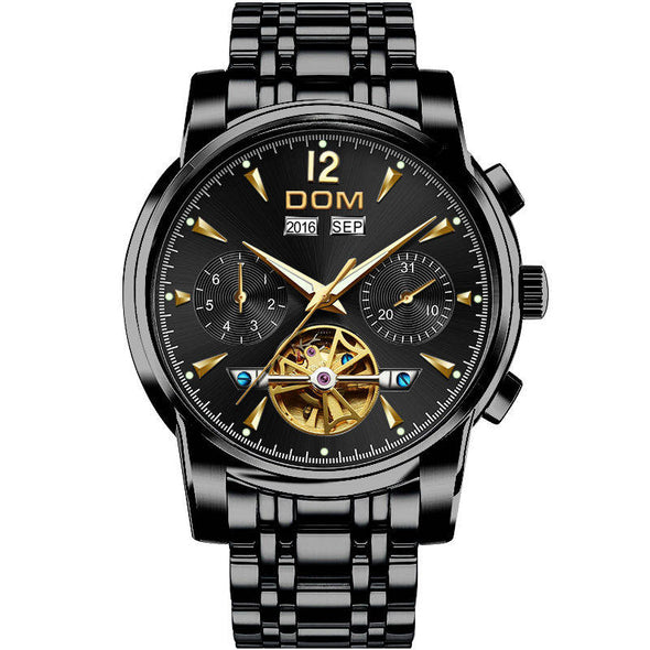 DOM Mechanical Watch Men Wrist Automatic Retro Watches Men Waterproof Black - BC&ACI