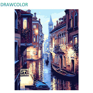 New DRAWCOLOR Frame DIY Painting By Numbers Kits Venice Night - BC&ACI