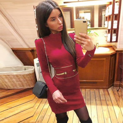 DressBird Women Dress Autumn Winter Long Sleeve Bandage Bodycon