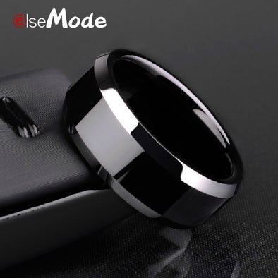 ELSEMODE High Quality Titanium Stainless Steel Rings Black For Men Gold Silver Blue Multi Color - BC&ACI