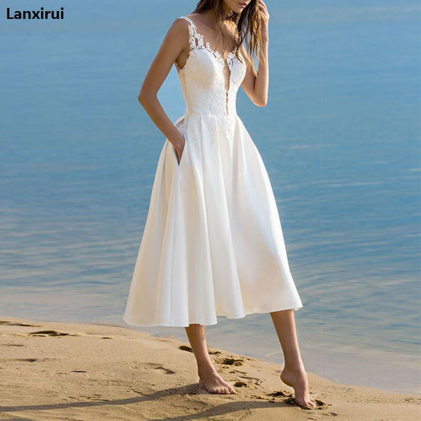 Elegant White Lace Spaghetti Strap Midi Dress 2018 Summer Sexy Sleeveless V Neck Beach Dresses Women