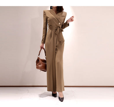 Elegant Winter Jumpsuit Women Lapel Office Lady Wide Leg Rompers With Sashes - BC&ACI