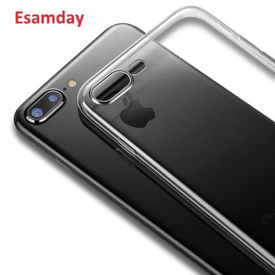 Esamday Clear Silicon Soft TPU Case For 7 7Plus 8 8Plus X XS MAX XR Transparent Phone Case