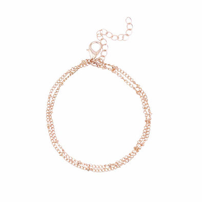 Pretty FAMSHIN Summer bracelets & bangles Dainty Double-Layer Satellite Chain Gold Bracelet Wedding Gift - BC&ACI