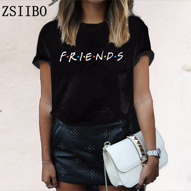 FRIENDS Letter t shirt Women tshirt  Casual Funny t shirt For Lady Girl Top Tee Hipster Drop Ship