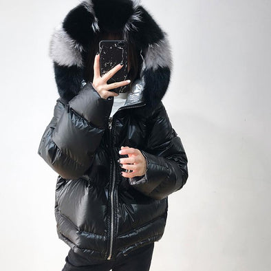 New FTLZZ  Winter Jacket Women Real Fur Coat Natural Fox Fur Collar - BC&ACI