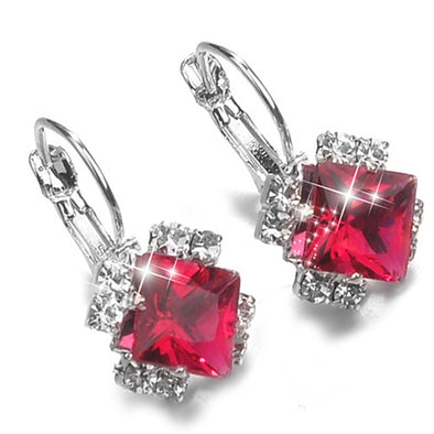 Fashion 2018 Stone Rhinestones White Red Square Crystal Drop Earrings For Women Jewelry - BC&ACI