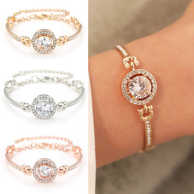Pretty Fashion Luxury Rhinestone  Zircon Multi-Layer Bangle Bracelet High - BC&ACI