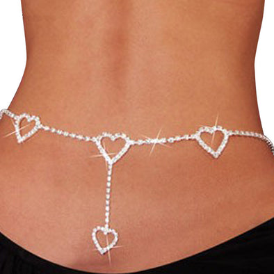 Fashion Rhinestone Heart To Heart Body Chain Gold/silver Color Long Belly Chain Jewlery women - BC&ACI