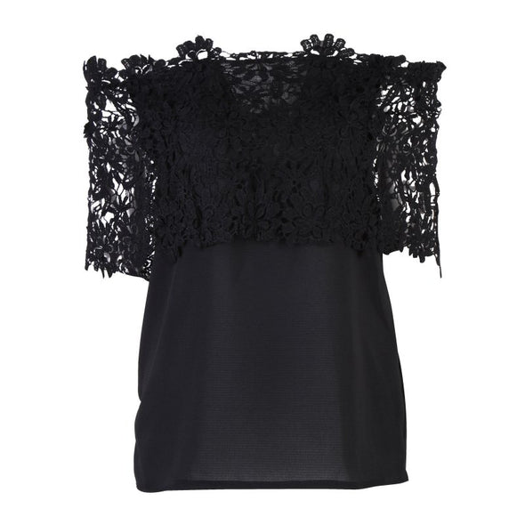Fashion Tops for Women Summer Lace Blouse Shirt Female Crochet Off