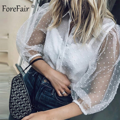 Forefair Womens Transparent Sexy Blouse