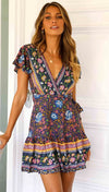 Forefair Vintage Bohemian Dress 2019 Women Wrap Dress Sexy Mini A line V Neck Short Sleeve