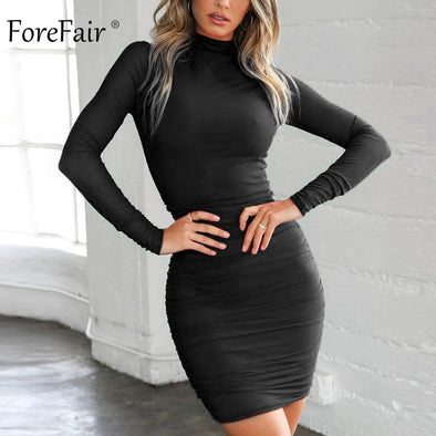 Forefair Winter Red Black Sexy Bodycon Dress Mini Turtleneck Long Sleeve Ruched Skinny