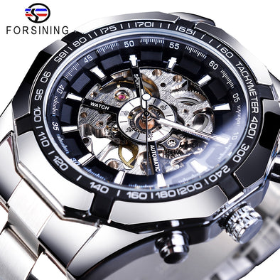 New Forsining Stainless Steel Waterproof Mens Skeleton Watches Top Brand Luxury Transparent Mechanical Sport - BC&ACI