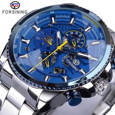 New Forsining Blue Ocean Design Silver Steel 3 Dial Calendar Display Mens Automatic Mechanical Sport Wrist Watches - BC&ACI