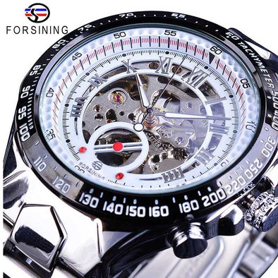 New Forsining Transparent Case Open Work Silver Stainless Steel Mechanical Skeleton Sport Wrist Watch - BC&ACI