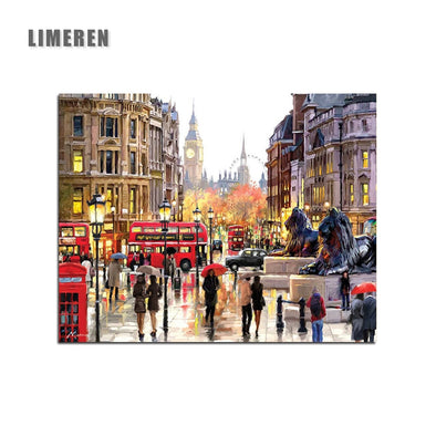 New Frameless London Street DIY Painting By Numbers Landscape Acrylic Paint By Numbers - BC&ACI