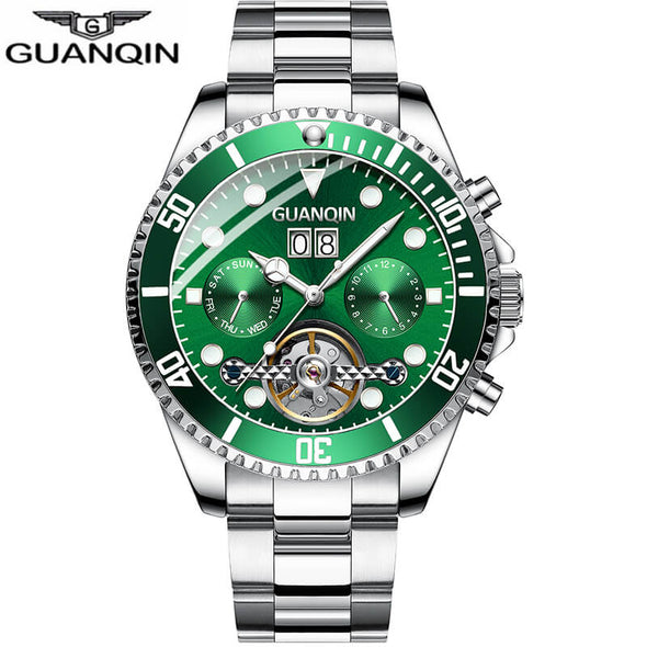 New GUANQIN Men Automatic Tourbillon Watch Skeleton Mechanical  Watch Sport - BC&ACI
