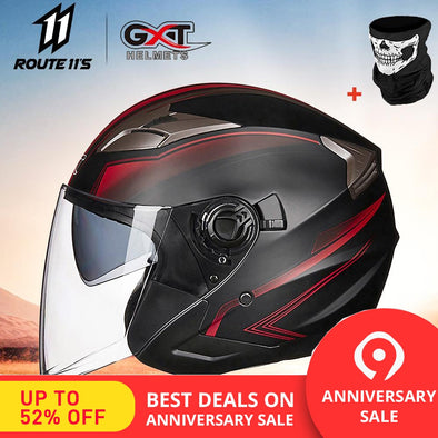 GXT Motorcycle Helmet Half Face ABS Motorbike Helmet Electric Safety - BC&ACI