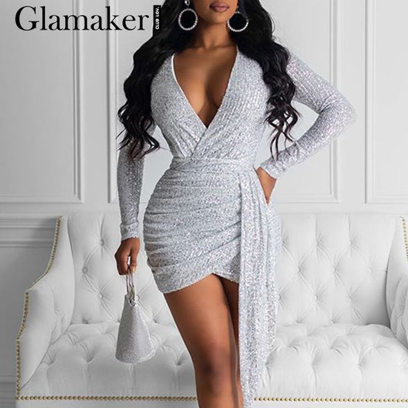 Glamaker Silver sequins sexy pleated bodycon short Women autumn winter streetwear v-neck mini dress Female tie knot party dress - BC&ACI