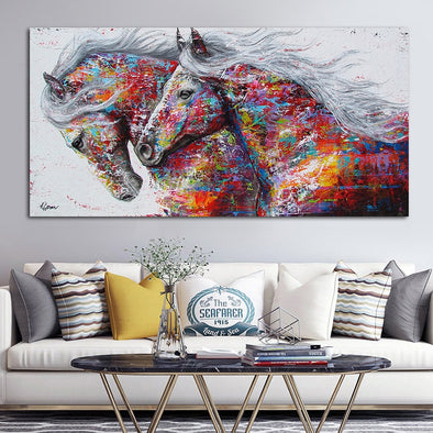 Graffiti Art Two Running Horse Animal Painting Canvas Art Big Size Wall Pictures - BC&ACI
