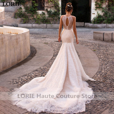 New Sexy Mermaid Wedding Dress Elegant Lace Princess Sleeveless Romantic Appliques - BC&ACI