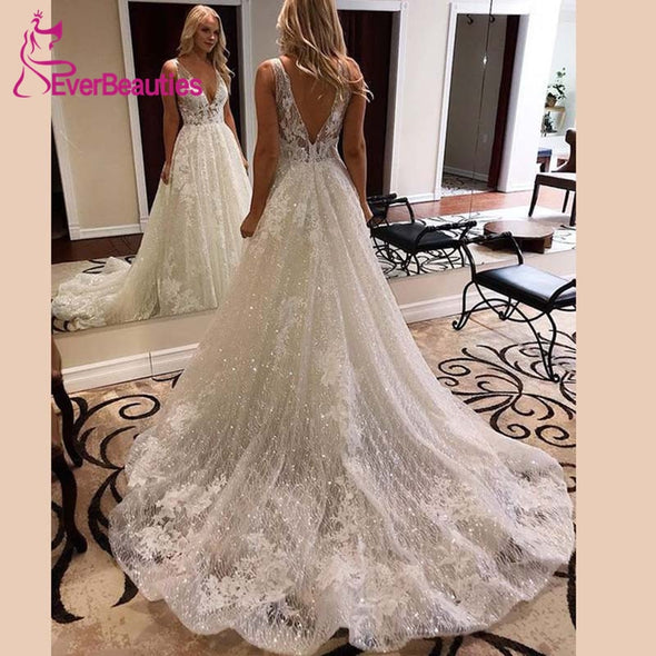 New Wedding Dress Sparkly Glitter V-Neck Bridal Gowns Long Train - BC&ACI