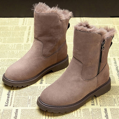 New Women's Winter Snow Boots Leather Zip - BC&ACI