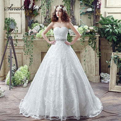 New Classic Wedding Gown Sweetheart Lace up Chapel Train - BC&ACI