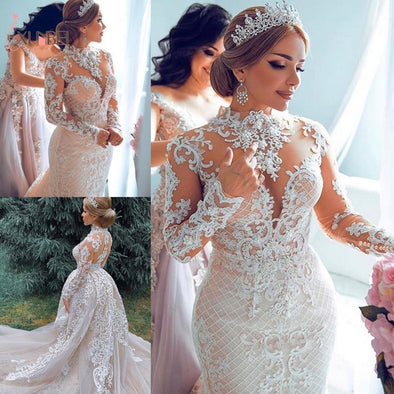 New Mermaid Wedding Dresses Detachable Train High Neck Lace Long Sleeves - BC&ACI