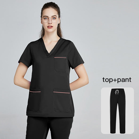 new soft women Uniforms Short Sleeve Work Wear surgical uniform solid Medical uniform Nurse uniform women scrubs set lab coats