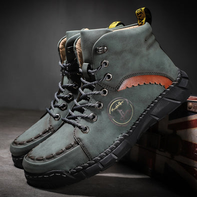 New Split Leather Mens Martin Boots Man Sport Sneakers Walking Hunting Footwear Male Outdoor Leisure Work Shoes Plus Size 38-50