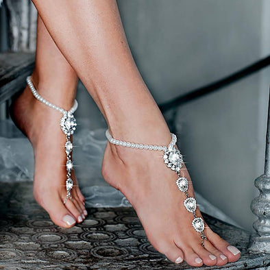 1PC Fashion Wedding Barefoot Iced Out Bling Sexy Crystal Sandals Pearl Foot Jewelry Pie Leg Chain Female Boho Anklet for women