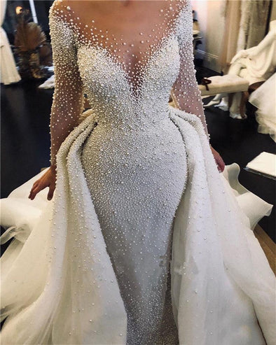 New Luxury Full Pearl Beaded Mermaid Wedding Dresses With Detachable Train - BC&ACI