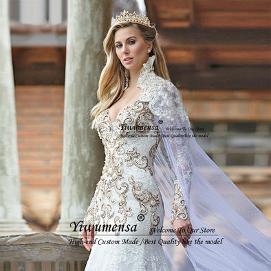 New Mermaid Luxury Wedding Dresses Gold Beading Crystal - BC&ACI