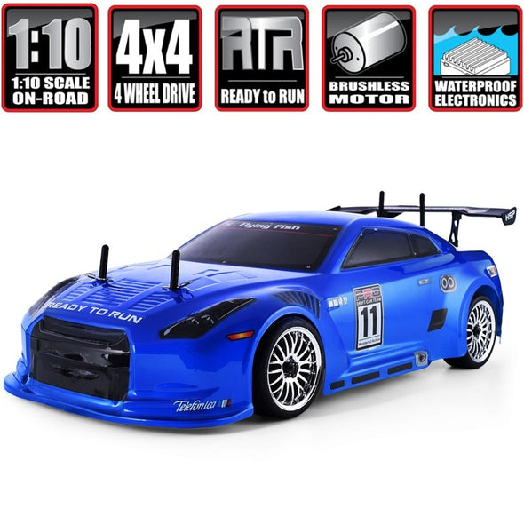 New HSP Rc Drift Car 1:10 4wd On Road Racing 94123PRO FlyingFish Electric Power Brushless Lipo High Speed  remote control car - BC&ACI