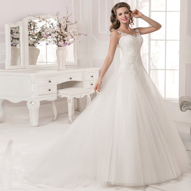 New Jiayigong Eleagnt Scoop Neck Lace Bridal Gown Sleeveless Applique Tulle Mermaid - BC&ACI