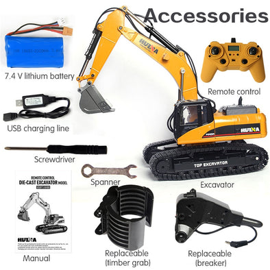 HUINA 1580 580 1:14 23Ch RC FULL ALLOY RC Excavator Big Rc Trucks  Newest Version - BC&ACI