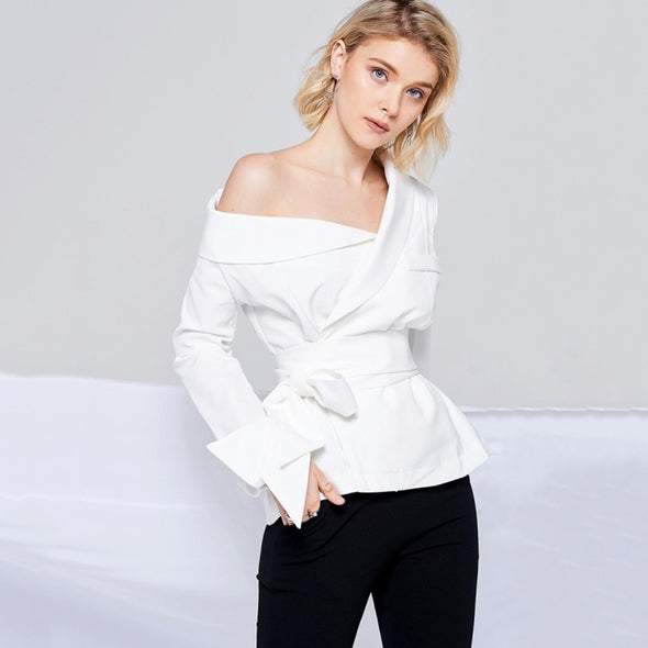 HYH HAOYIHUI Office Sexy Solid White Women Blouse Skew Collar Long Sleeve Pockets - BC&ACI