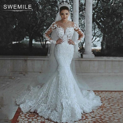New Lace Mermaid Wedding Dress Long Sleeve - BC&ACI
