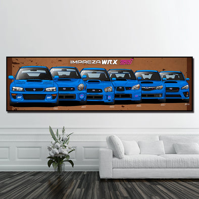 New Hd Prints Wall Art Blue Cool Car STI Sports Car Fashion Poster Painting Canvas Pictures For Living Room Bedside Home Decoration - BC&ACI