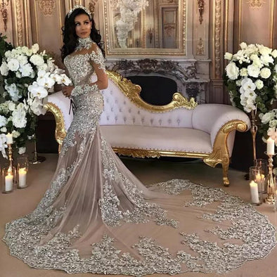New Wedding Dresses Bling Beaded Applique High Neck Illusion Long Sleeves Mermaid - BC&ACI