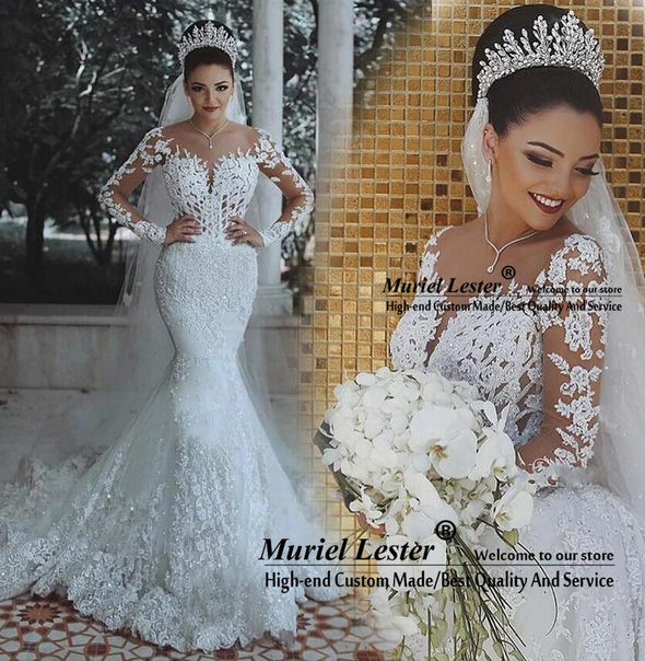 New Luxury Appliques Lace Mermaid Wedding Dress With Long Sleeves Custom Made - BC&ACI