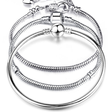 High Quality 17-21cm Silver Snake Chain Link Bracelet Fit European Charm Pandora Bracelet for Women